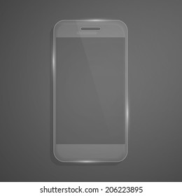 Futuristic glass smartphone. Vector illustration.