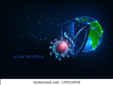 Futuristic global medical protection from infectious coronavirus covid-19 disease concept with glowing low polygonal globe, shield and virus on dark blue background. Modern wire frame mesh design.