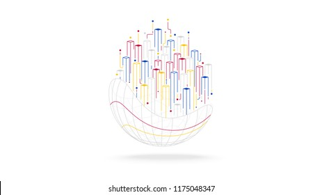 futuristic globe big data tech elements abstract background