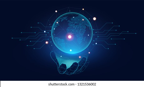 Futuristic Globe with connection network glowing on the hand of Ai robot suitable for future technology artwork