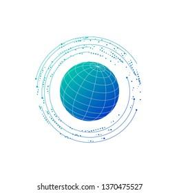 futuristic globe data network element. Vector illustration isolated on white background.