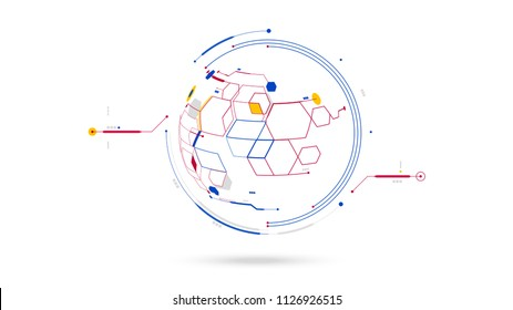 futuristic globe data network elements abstract vector background