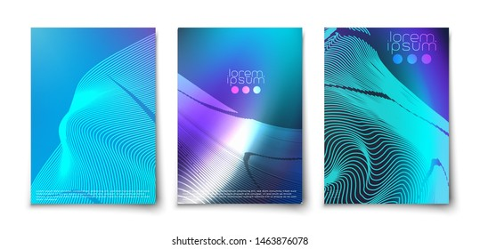 Futuristic glowing lines abstract backgrounds cover templates set. Northen glow. Neon. Geometric blend elements.