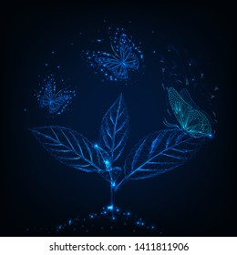 Futuristic glowing low poly flying butterflies around green plant  on dark blue background.  Nature beauty concept. Modern wireframe design vector illustration.