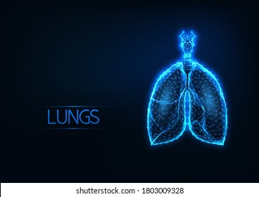 Futuristic glowing low polygonal anatomical lungs hologram on dark blue background. Medical diagnostic technologies. Modern wireframe mesh design vector illustration.