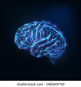 Futuristic glowing low polygonal brain mad of connected lines, stars, dots, triangles isolated on dark blue background. Neurology research, artificial intelligence concept. Vector illustration.