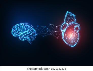 Futuristic glowing low polygonal connected  human organs brain and heart on dark blue background. Emotions and intellect balance and harmony concept. Modern wire frame design vector illustration.