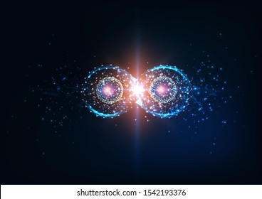Futuristic glowing low polygonal infinity loop with atom coherence models. Quantum entanglement, future physics science concept. Modern wire frame mesh design vector illustration.
