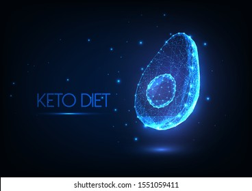 Futuristic glowing low polygonal ketogenic diet concept with avocado half made of lines, dots, light particles isolated on dark blue background. Modern wire frame mesh design vector illustration.