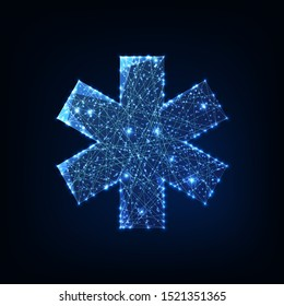 Futuristic glowing low polygonal medical symbol star of life made of lines, stars, particles, dots isolated on dark blue background. Health care concept. Modern wire frame design vector illustration.