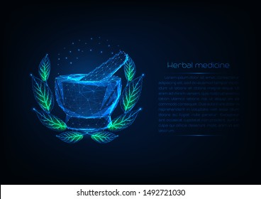 Futuristic glowing low polygonal mortar an pestle surrounded by wreath with green leaves and copy space for text. Herbal medicine concept. Grinding spices. Modern wireframe design vector illustration.