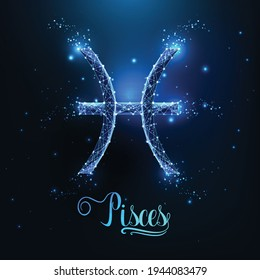 Futuristic glowing low polygonal Pisces zodiac sign concept on dark blue background.
