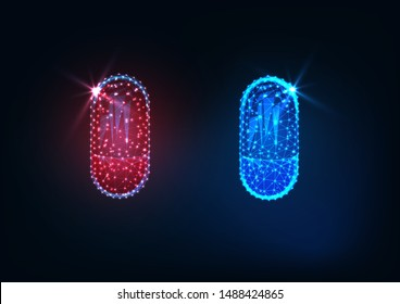 Futuristic glowing low polygonal red and blue medicines capsules isolated on dark blue background. Choice, dilemma, decision making concept. Modern wireframe design vector illustration.