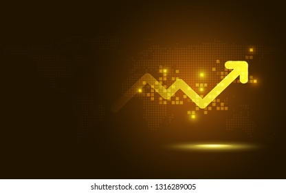 Futuristic gold raise arrow chart digital transformation abstract technology background. Big data and business growth currency stock and investment gold future economy . Vector illustration