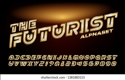 A futuristic gold and white alphabet suitable for logos, video game titles, and cinematic titling.