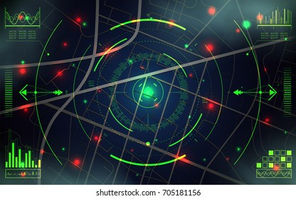Futuristic GPS geolocation interface with crosshair. City map with location of objects. Technology background. Spy Screen for Search and Tracking. Satellite surveillance system. Vector illustration