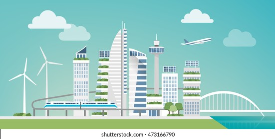 Futuristic green city with wind turbines, skyscrapers and monorail, sustainability and innovation concept