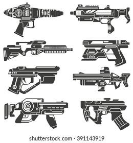 futuristic gun icons set, sci-fi weapons