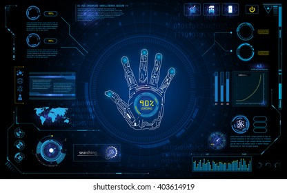 futuristic hand scan identify with hud  element interface screen monitor design background template
