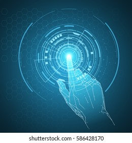 Futuristic hand touch illustration