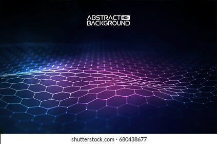 Futuristic hexagon vector illustration. Futuristic hexagon vector illustration. HUD element. Technology concept. 3d landscape. Big data.