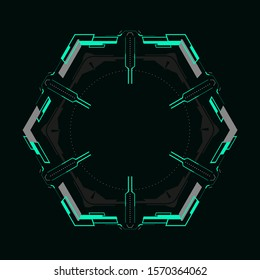Futuristic hexagonal frame.Vector element for hud interface.