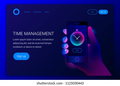 Futuristic hi tech mobile technology concept. Smartphone screen with stopwatch app. Hand holds phone. Modern trendy style design. Landing page template. Vector illustration.