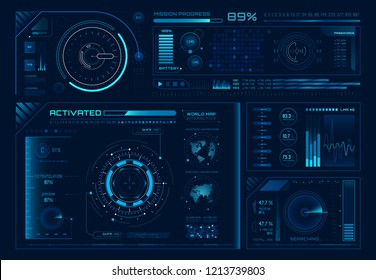 Futuristic hologram ui. Science hud interfaces, graph interface frames and tech regulators or button design elements digital graphics interface. Virtual hologram panels vector icons set