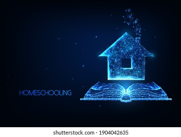 Futuristic Homeschooling, Online tuition remotely concept with glowing low polygonal house and open book on dark blue background. Modern wireframe mesh design vector illustration.