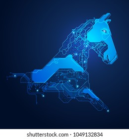 futuristic horse head, shape of horse head combined with electronic board, concept of powerful technology