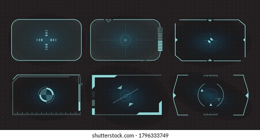 Futuristic HUD frames for target screen and border aim control panel. Screen elements set of Sci Fi User Interface for Gaming UX UI.