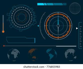 Futuristic HUD interface elements.Vector illustration.
