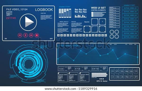 Futuristic Hud Music Dashboard Display Virtual Stock Vector
