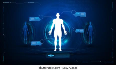 Futuristic hud science scanning technology innovation design concept background eps 10 vector