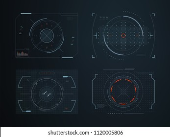 Futuristic hud virtual control panels. Hologram touch screen high tech vector design. Panel system interactive, gaming indicator illustration