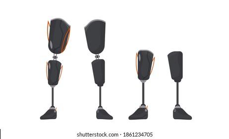 Futuristic human leg prosthesis. Metal leg implant. Isolated. Vector.
