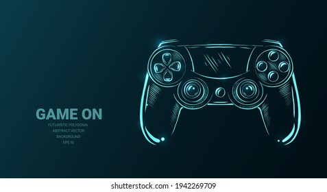 Futuristic illustration with joystick game controller or sketch, concept sign on dark background for video games. Vector digital art, technology, computer games, cyber sport.