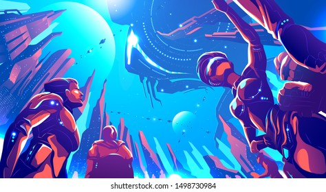 A futuristic illustration in vector of future metropolis on a far away planet. Human colonization, high Technology, science fiction illustration.