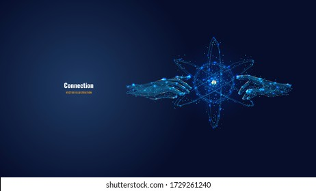 Futuristic image of hands touching abstract technology circles with global connection lines. Vector connection and data exchange technology concept in dark blue. Digital polygonal mesh illustration