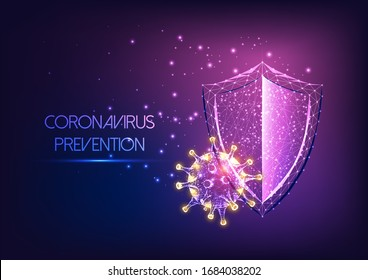 Futuristic immune system protection from coronavirus Covid-19 disease concept with glowing low poly shield and virus cells on dark purple background. Microbiology, immunology. Vector illustration.