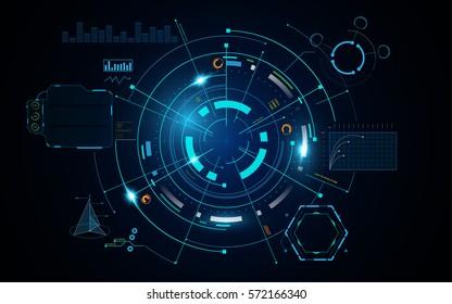 futuristic info hud circular digital sci fi concept background