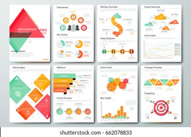 Futuristic infographic brochure template. Pages with diagrams, bar and line graphs and charts. Concept of statistical data visualization and representation of information. Vector illustration.