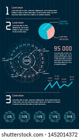 Futuristic infographic. Information aesthetic design. Complex data threads graphic visualization. Abstract data graph.