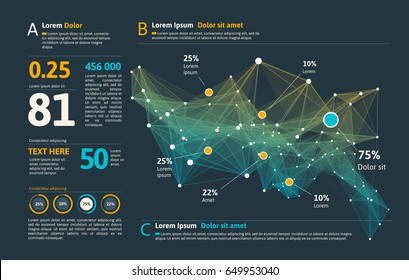 Futuristic infographic. Information aesthetic design. Complex data threads graphic visualization. Abstract data graph. Vector illustration
