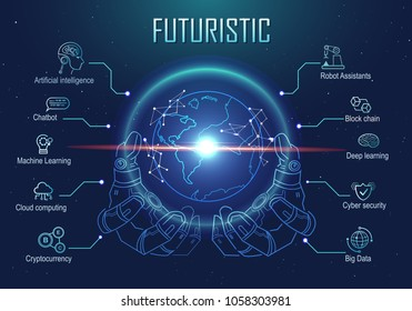 Futuristic infographic robotic hand holding virtual digital earth globe. artificial intelligence technology, big data, robot assistants, block chain, cryptocurrency icon and machine learning.