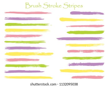 Futuristic ink brush stroke stripes vector set, purple green yellow marker or paintbrush lines patch. Hand drawn watercolor paint brushes, smudge strokes collection. Interior colors scheme elements.