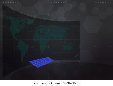 futuristic interface display world map on curve monitor