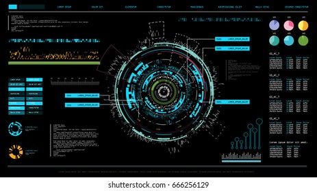 Futuristic interface hud design, infographic elements like scanning graph or waves, warning arrow and bar regulator, fingerprint or dactylogram pass, molecule hologram.