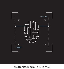Futuristic interface scanner fingerprint. Modern interface touch screen isolated on black background. Security and access to information through biometrics identification. Vector Illustration.