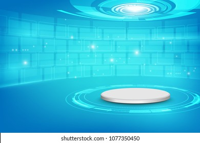 Futuristic interior with empty stage. Modern Future background. Technology Sci-fi hi tech concept,vector illustration